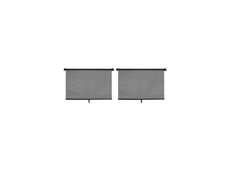 Sada 2 kusů slunečních roletek určených k použití na oknech automobilu.2x45cm. Způsob perforace materiálu zajišťuje absorpci cca 70% slunečních paprsků a zároveň umožňuje řidiči maximum viditelnosti jak ve dne, tak i v noci. Barva černá. Délku vytažené clony: 55,5 cm.
