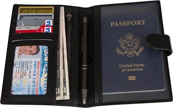 Viajero Club RFID Blocking Leather Passport Holder & Travel Wallet for Men  and Women (Black