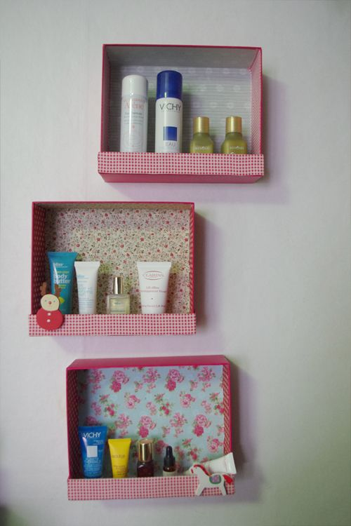 keep my paints and crafts in the boxes   notice small bottom ledge to make sure things don't fall out