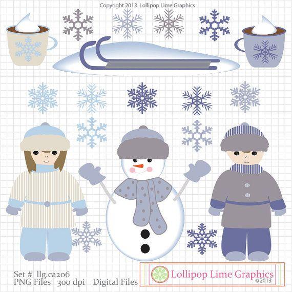 #digitaldesigners Winter Kids Snowflakes Hot Chocolate Snowman Digital Clipart Graphics Snow Clip Art Instant Download PNG Printable Digital Download