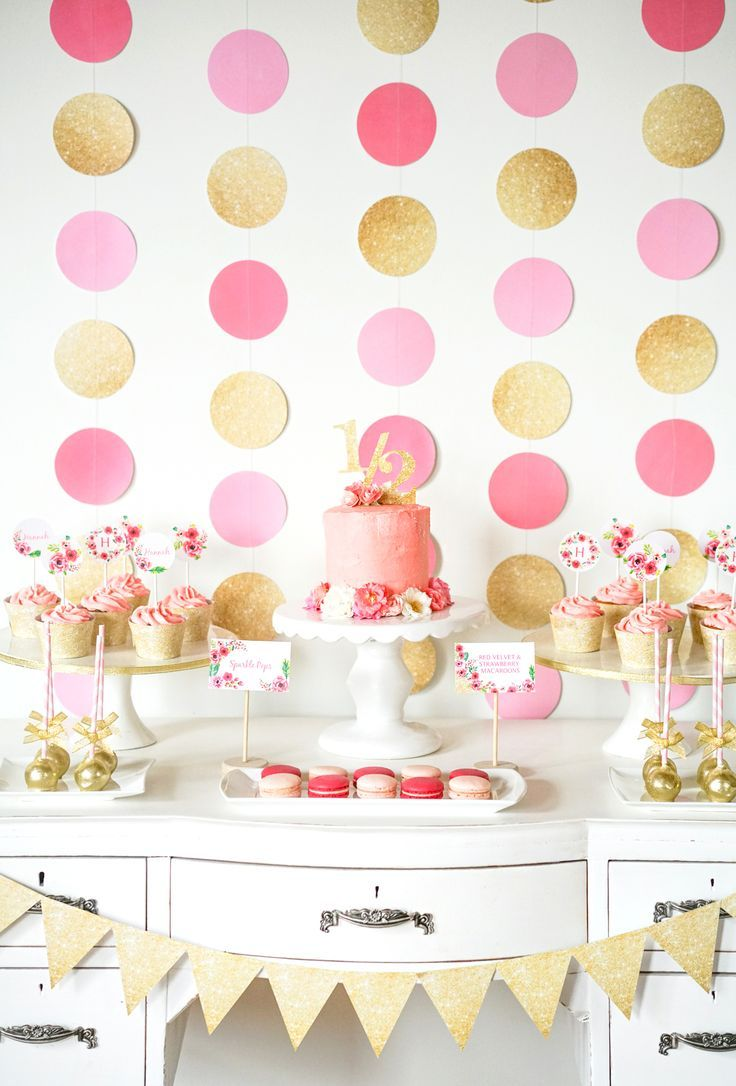 Gold Glitter And Pink Florals 1 2 Birthday Party From SunshineParties On Etsy HalfBirthdayParty PinkAndGoldPartyIdeas