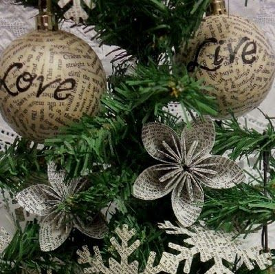 recycled bookpage ornaments...simple and sweet