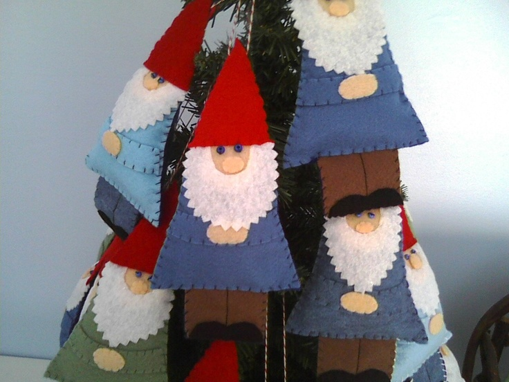 Felt  Garden Gnome Ornament--Treasury Item. $9.25, via Etsy.  Would like in fused glass.
