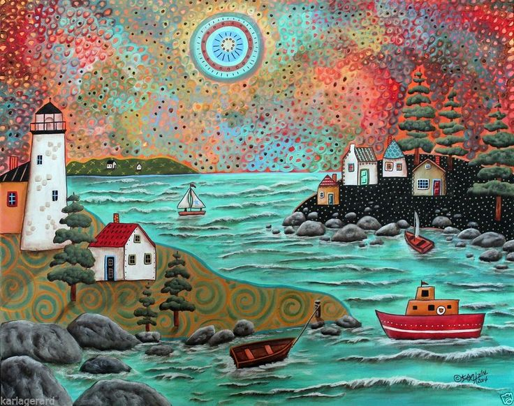 Blue Sea CANVAS Lighthouse Sailboat PAINTING 20x16 ABSTRACT FOLK ART Karla G...for sale now...fabulous.. #FolkArtAbstractPrimitive