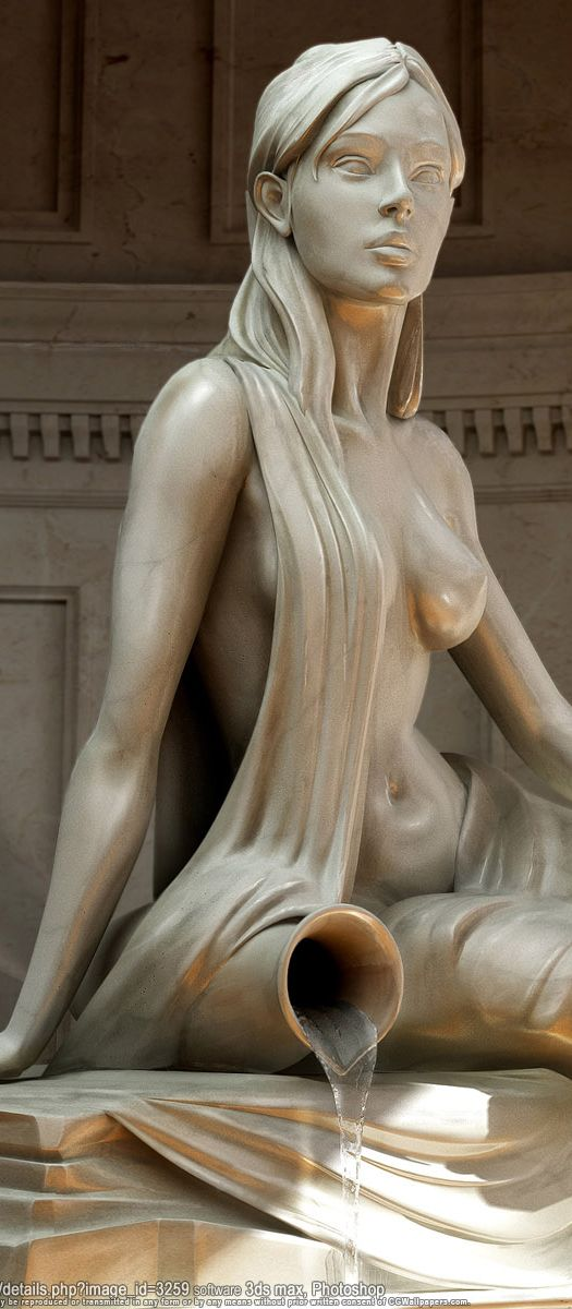 lovely, smooth feminine curves on siren at fountain by CG! on 3DS Max/Photoshop (via CGWallPapers.com)