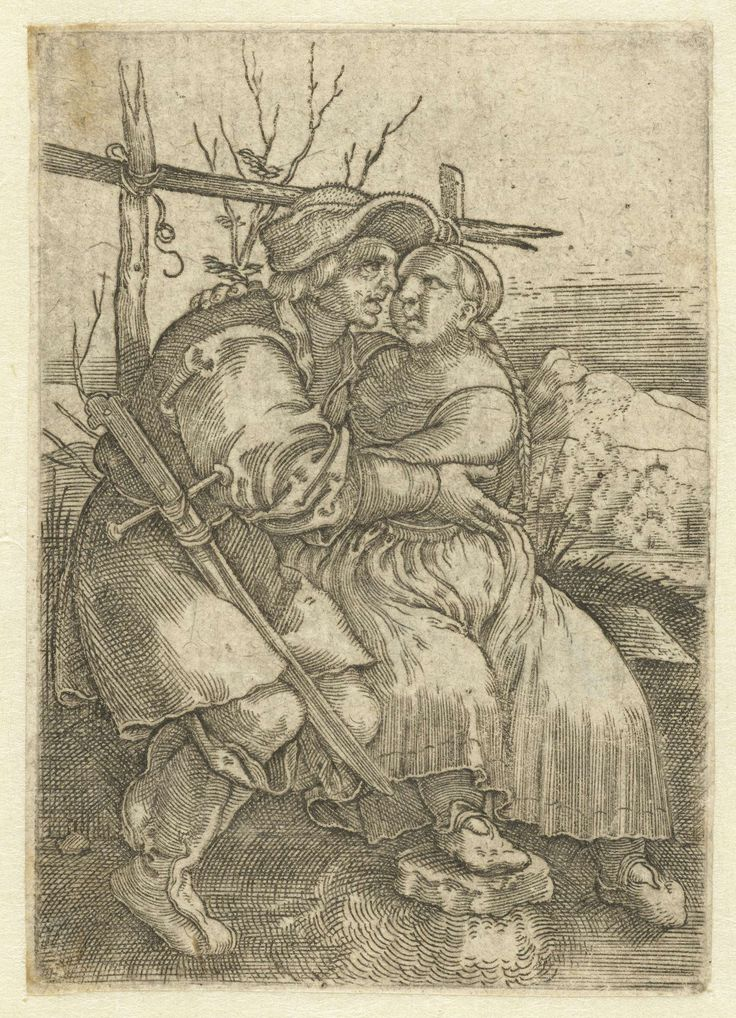 Amourous Peasants, Hans Sebald Beham, Anonymous, 1521 - 1599