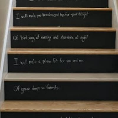 Chalkboard paint on stair risers