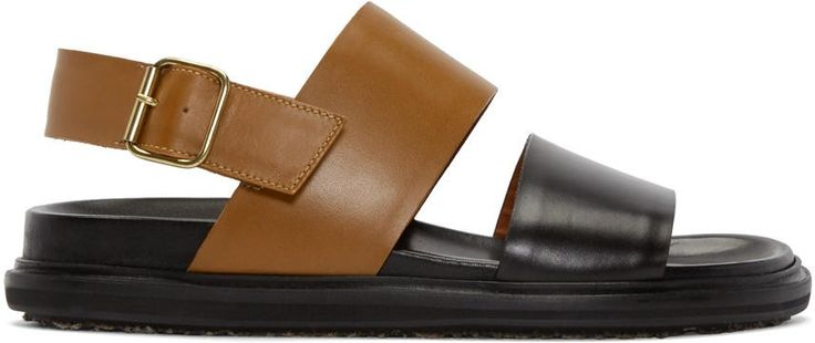 MARNI BROWN AND BLACK LEATHER SANDALS