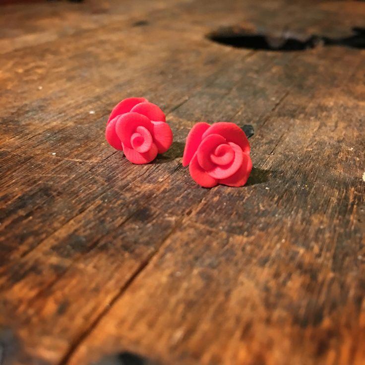 Rose earring studs ruusu nappikorvikset handmade by CherryAnn polymer clay