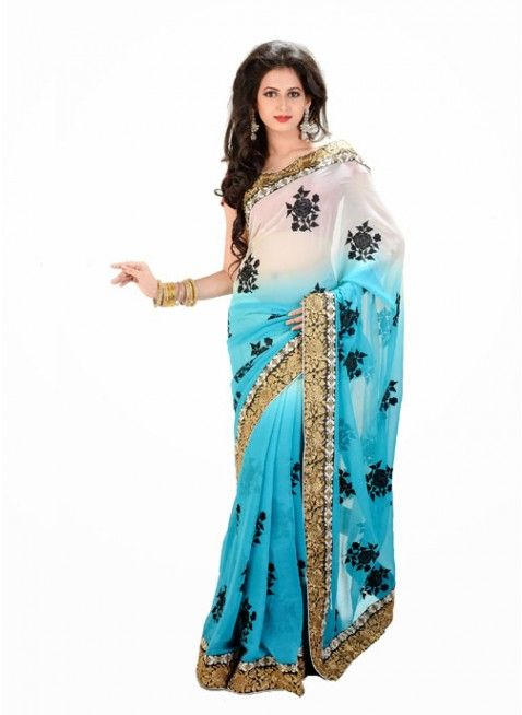 Classy Off White & Pale Cyan Blue Color Chiffon Based Embroidered #Saree With Resham Work #clothing #fashion #womenwear #womenapparel #ethnicwear