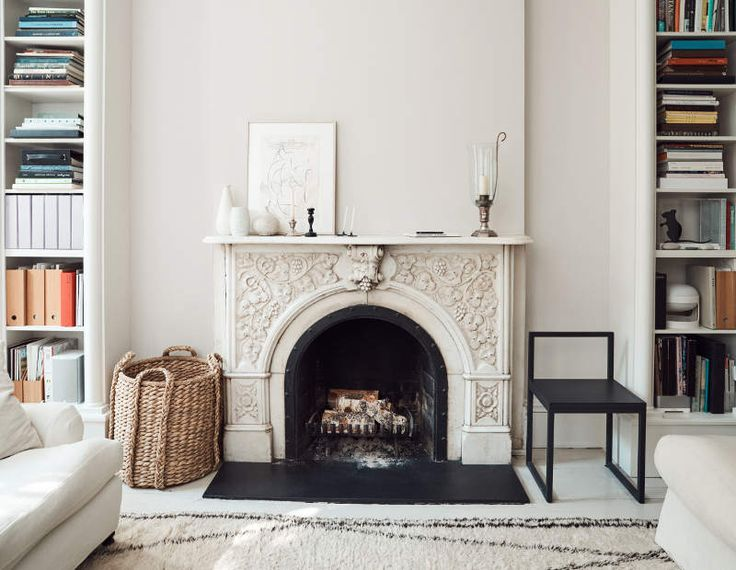 white library, white on white fireplace,  fireplace detail