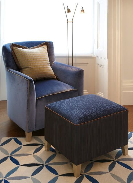 The Helen Green Design Collection Getty Chair In Cobalt Blue Velvet With Contrasting Gold Piping Contributes