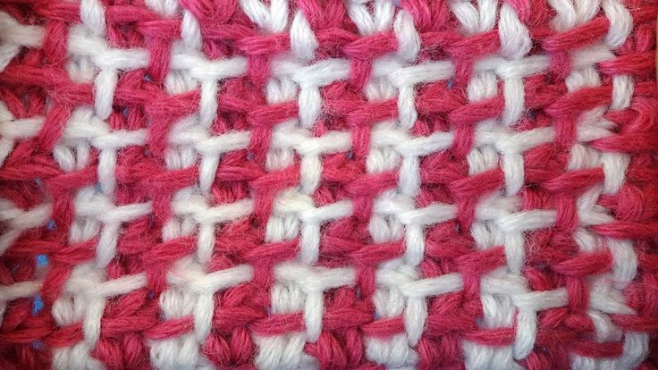 Tunisian crochet pattern Тунисский узор со снятыми петлями тунисское вяз...