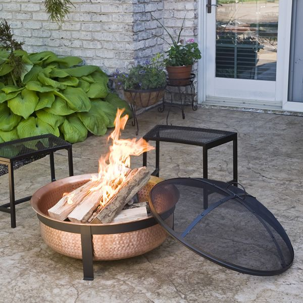 Hand-Hammered Copper Fire Tub