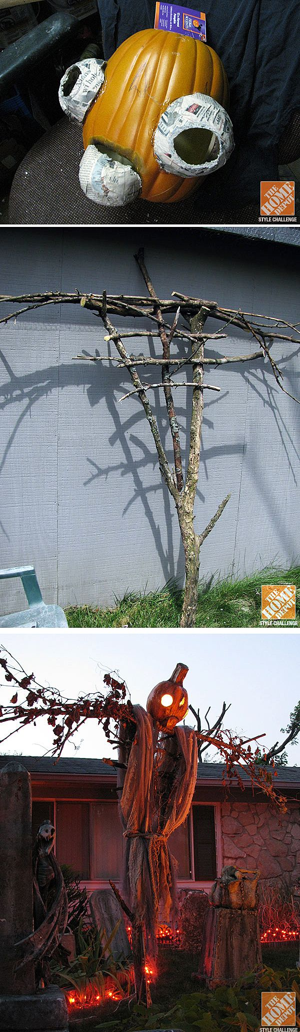 David Schilling's home in Indianapolis is famous for its annual Halloween display called The Shadow Farm. He shows us how he created this very spooky jack-o-lantern scarecrow for his yard. Click through to The Home Depot Blog to see it.