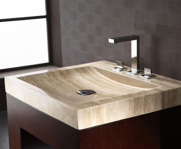 Image Gallery For Website Xylem Beige Travertine Vanity Top with Integrated Sink SVTXXXTR hXylem Beige Travertine Vanity Top with