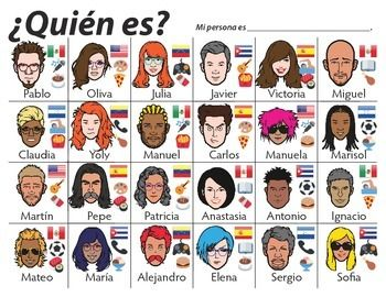 ¿Quién es? Spanish Conversation game - STUDENTS LOVE IT! - Students ask yes or no questions to determine opponent's mystery character. Includes nationalities, favorite foods, and activities.