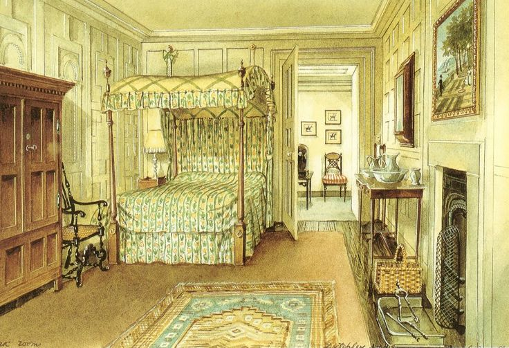 The Oak Bedroom on the second floor at Ditchley Park. Watercolor by Alexandre Serebriakoff.