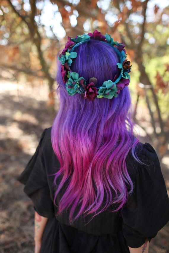 Purple to pink dyed hair!
