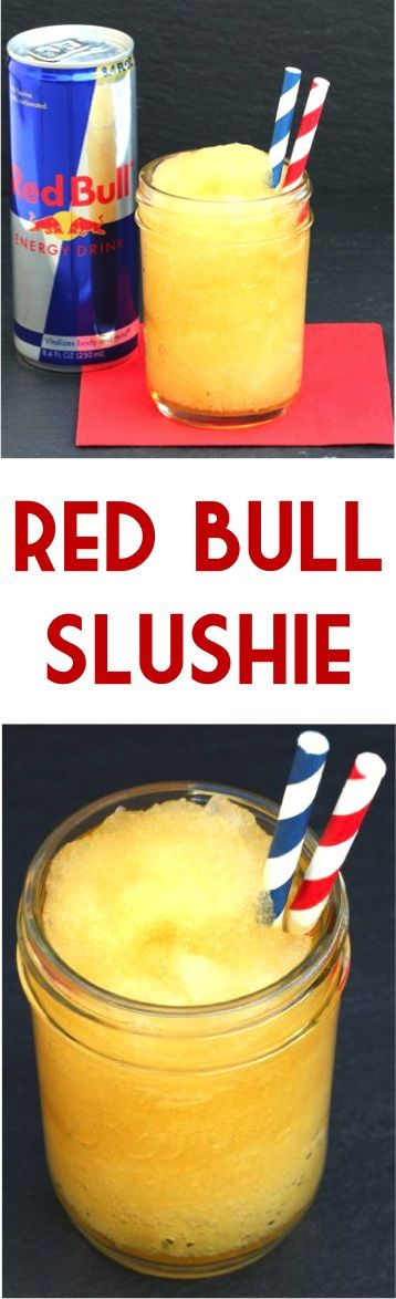 Slushie Recipe! This Red Bull Slush is one part ice cold deliciousness, one part Red Bull pick-me-up.  Two simple ingredients to give you the ultimate summer kick in the pants!