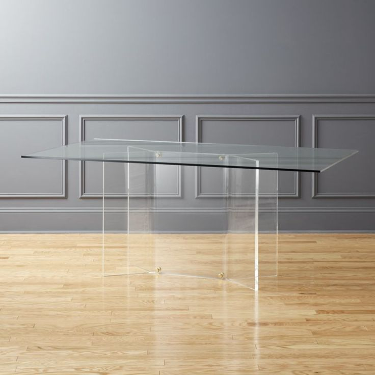 Shop Scarpa Glass and Acrylic Dining Table.   By Serena Confalonieri, glass and acrylic dining table serves up high-end design at an unmatched price.  Clear acrylic sheet takes shape as four-pronged base for this ultra-transparent diner.