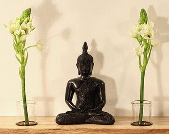 Floating shelves altar vases wall art Feng by PetrichorWoodDesign