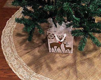 Arpillera y falda de encaje árbol de Navidad, 60 pulgadas de diámetro, decoración de Navidad, falda del árbol, encaje,
