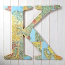 Giant Vintage Map Letter - New