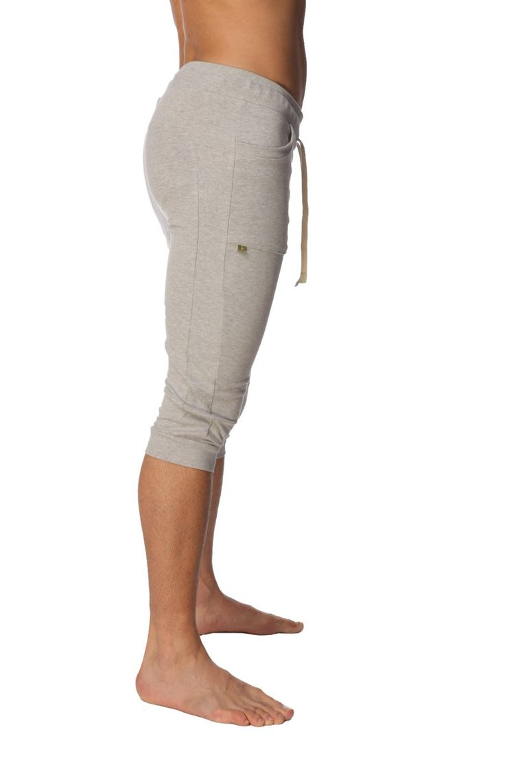 Cuffed Yoga Pants for men (Heather Grey) | This medium-weight Modal fabric (super soft Birch tree fiber) Yoga short pant is perfect for any climate & will be your favorite look! Perfect 4 Yoga, pilates, tennis, the gym & running errands. See more at - http://yoga-eco-clothing.com/product/mens-yoga-pants-organic-fiber/