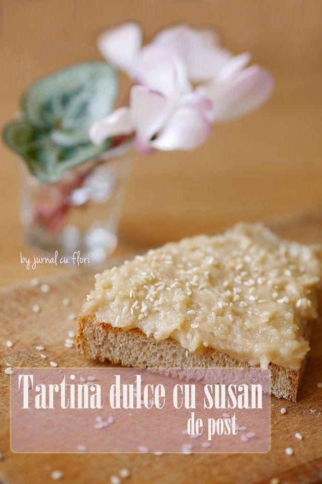 dulciuri de post, tartina cu pasta susan, reteta doru laza, flori ciclamen, vegan sesame tart recipe, cyclamen flowers