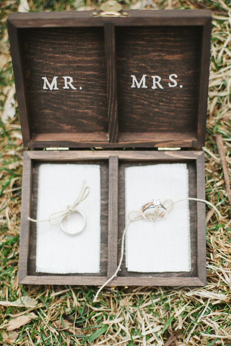 #rustic, #rings, #ring-box, #wood, #mr, #mrs  Photography: Connie Dai - www.conniedaiphotography.com/  Read More: http://www.stylemepretty.com/2014/08/27/rustic-garden-wedding-in-denver/