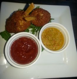 Crab pogos from Lisa Marie restaurant in Toronto. Check out full review from The Neon Leopard.
