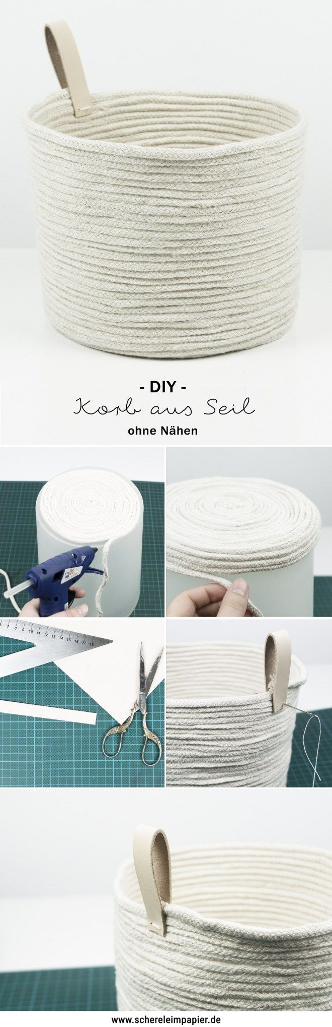 schereleimpapier DIY und Upcycling Blog aus Berlin - kreative Tutorials für Geschenke, Möbel und Deko zum Basteln – DIY Korb aus Seil mit Leder