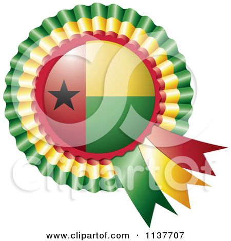 Clipart Of A Shiny Guinea Bissau Flag Rosette Bowknots Medal Award - Royalty Free Vector Illustration by MilsiArt
