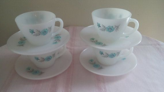 Vintage FIRE KING Boutonniere Cups and Saucers 8 Piece
