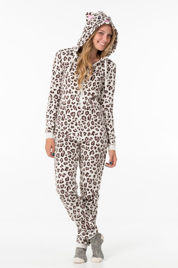 Ivory leopard fleece onesie - PJs & Robes - Clothing | Ardene Official Online Store