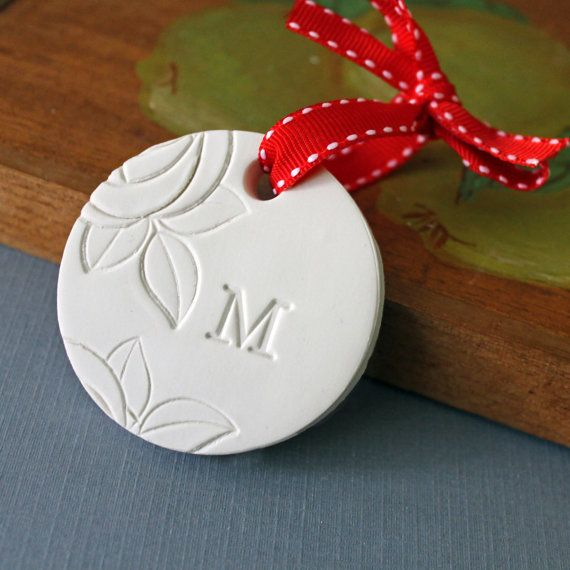 White Christmas Ornament with Monogram - Stamped Polymer Clay - Floral Design - Optional Gold Leaf