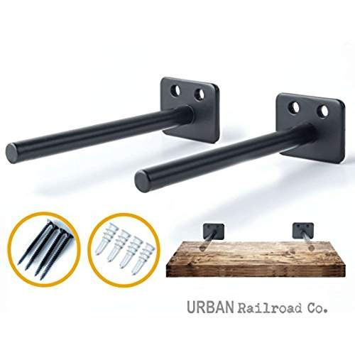 """Solid Steel Floating Shelf Brackets - 6"""" Steel Rod with 1/2"""" Diameter, Powder Coated Finish, Rustproof Blind Shelf Supports, Flush Fit, HARDWARE ONLY - Bracket Set of 2, Includes Screws & Wall Anchors"""