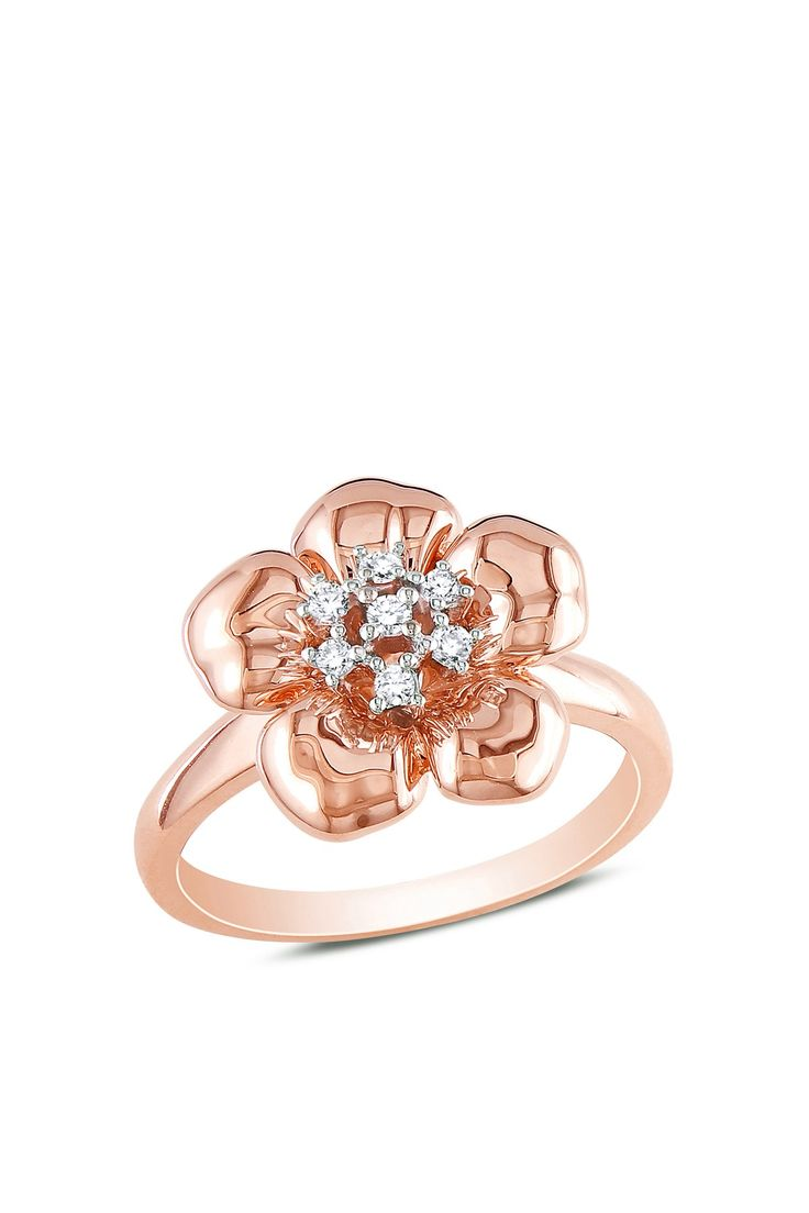Soft & Sweet: Rose Gold Jewelry  14K Rose Gold Diamond Flower Shape Ring - 0.10ctw