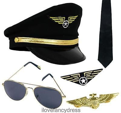 Captain #pilot fancy dress costume #accessory hat aviator #glasses badge tie 80's,  View more on the LINK: 	http://www.zeppy.io/product/gb/2/301078011617/