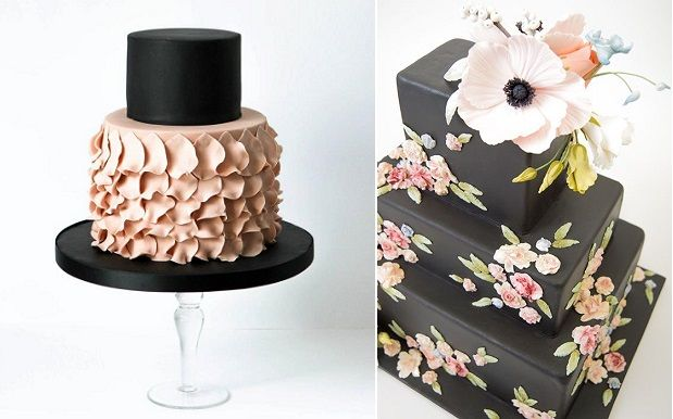 Using black would make for a one of a kind wedding cake!