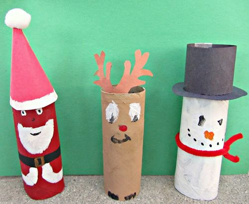 Toilet paper roll Santa, reindeer, snowman (Mommy Savers blog)