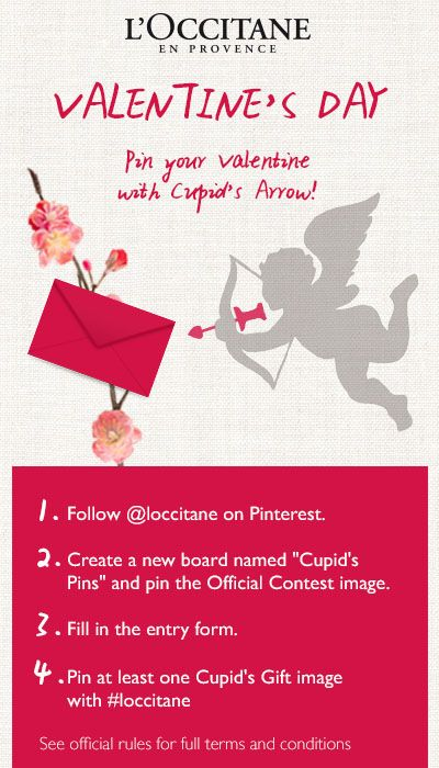 Share #CupidsPins with L'Occitane for a chance to win the perfect Valentine's Day gift.