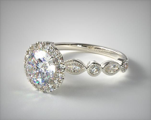 53062 Engagement Rings Halo 14k White Gold Marquise And