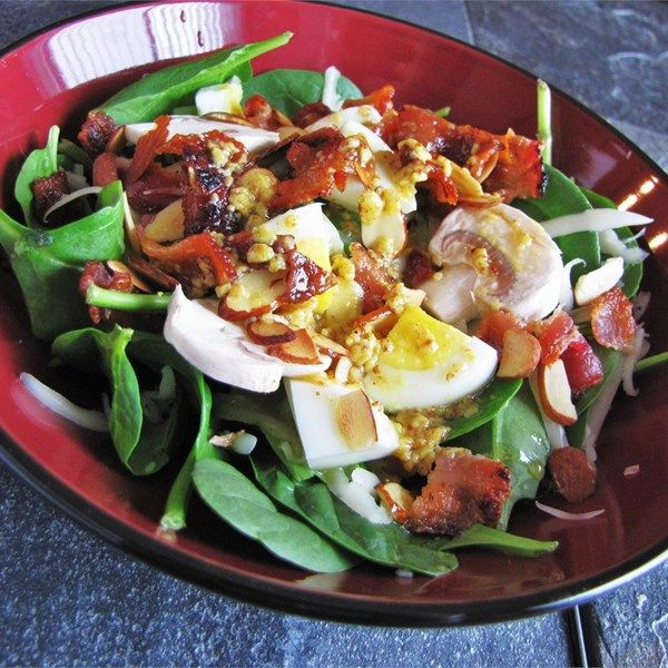 "Spinach Salad with Warm Bacon-Mustard Dressing | ""Delicious. Great blend of flavors. Superb salad dressing."""