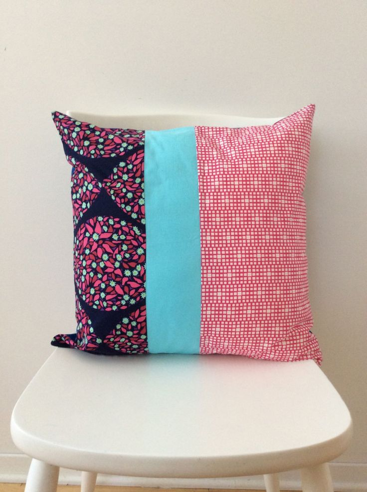 """Envelope pillow cover. 18"""" x 18"""" pillow.  Handmade, one of a kind cotton pillow cover. by scraphilldesigns on Etsy"""