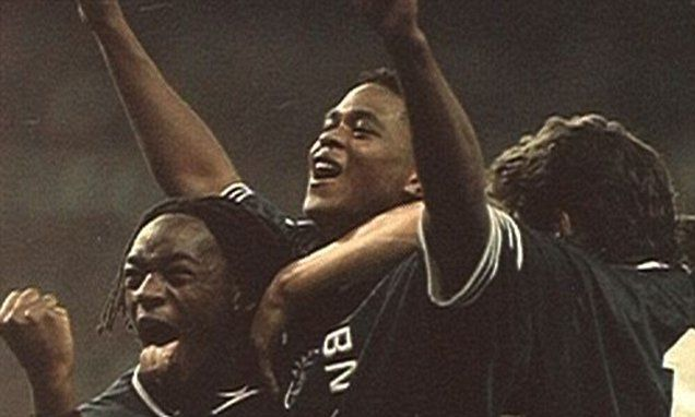 Nov. 22nd. 1995: Patrick Kluivert and colleagues celebrate a second goal as Louis van Gaal's Ajax beat Real Madrid 2-0 at the Bernebeau stadium.