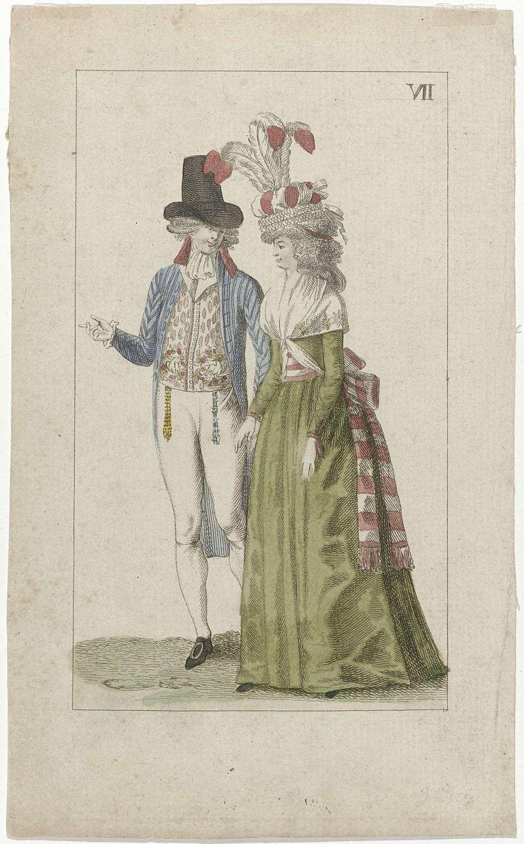 Anonymous | Kabinet van Mode en Smaak, ca. 1794, Nr. 7 (VII), Anonymous, Adriaan Pietersz. Loosjes, c. 1794 | Elegant gekleed paar. De man draagt een blauw gestreepte jas met rode kraag, vest en witte kniebroek. Accessoires: hoge hoed met opstaande randen, breloques, schoenen met ronde gespen. De vrouw draagt een groene japon met lange mouwen. Om de hals een fichu. Rood/wit gestreept ceintuur met aan de uiteinden franjes. Op het gekrulde haar een hoed(?) met drie opstaande veren. Prent uit…