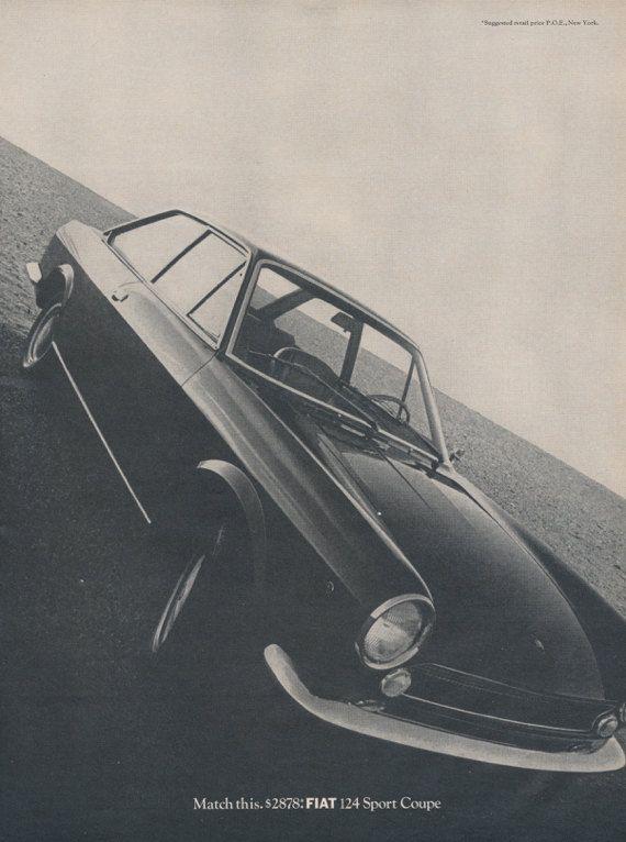 Fiat 124 Sport Coupe Vintage Advertisement Sports by AdVintageCom