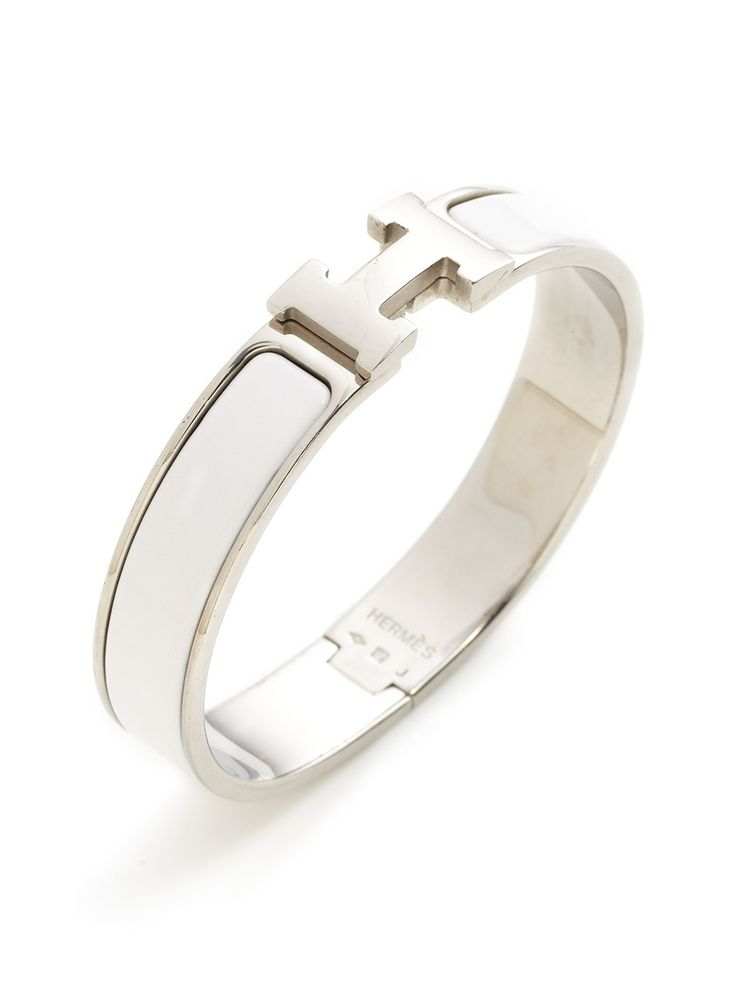 Hermes Clic-Clac H White Narrow Enamel Bracelet PM by Hermès at Gilt